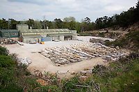 Meister Masonry yard, Catbrain Quarry with cut Limestone and Sandstone seen from the cotswold way on Painswick Beacon. Gloucestershire, England