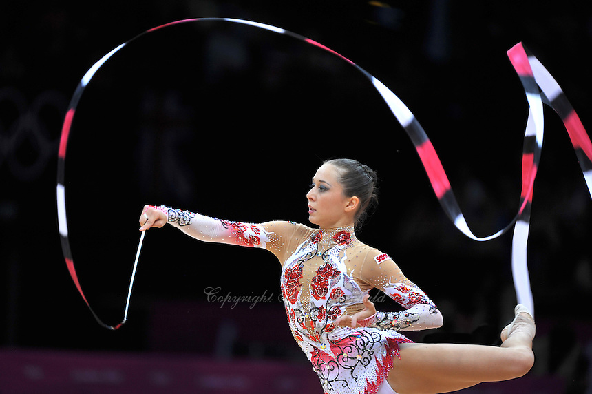 August 10, 2012; London, Great Britain;  SILVIYA MITEVA of Bulgaria performs with ribbon during day 2 of rhythmic gymnastics qualifying at London 2012 Olympics.