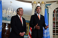 Washington, DC - November 4, 2016: United Nations Secretary General designate Antonio Guterres meets with U.S. Secretary of State John Kerry at the Department of State in the District of COlumbia, November 4, 2016.  (Photo by Don Baxter/Media Images International)