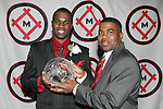11 January 2008:  O'Brian White (l) of the University of Connecticut holds his 2007 Hermann Trophy with his father, Jack.....The 2007 Hermann Trophy was presented to the NCAA Division I female and male players of the year by the Missouri Athletic Club in St. Louis, Missouri.