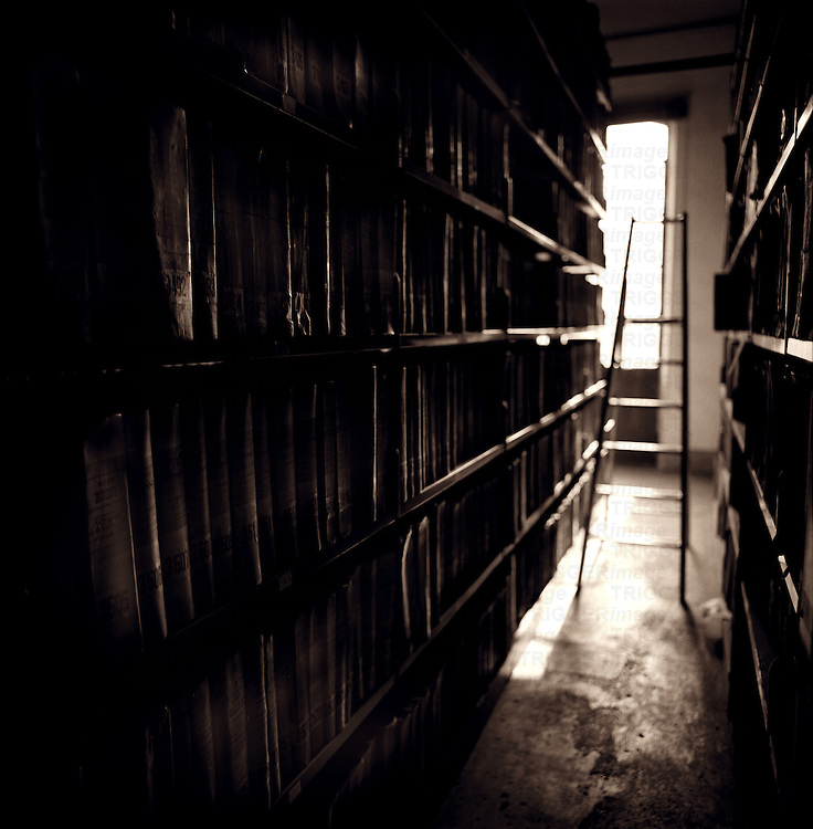 Inside a dark library