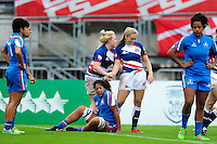 Abigail Walker of Great Britain is congratulated on her try. FISU World University Championship Rugby Sevens Women's 5th/6th place match between Great Britain and Italy on July 9, 2016 at the Swansea University International Sports Village in Swansea, Wales. Photo by: Patrick Khachfe / Onside Images