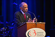 February 26, 2013  (Washington, DC)  Rep. John Conyers (D-MI) presents the 2013 Distinguished Individual Award to Stevie Wonder during a Congressional Black Caucus event at the Howard Theatre.  (Photo by Don Baxter/Media Images International)