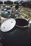 A quality control manager checks the fermentation of a batch of sake at a sake factory near Hachinohe, Japan. (Jim Bryant Photo).....