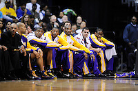 The Lakers' bench watches from the sidelines. Los Angeles defeated Washington 115-103 at the Verizon Center in Washington, DC on Tuesday, January 26, 2010.  Alan P. Santos/DC Sports Box