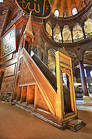 The 19th century minbar (mimbar or mimber)  pulpit  where the imam  stood to deliver sermons or in the Hussainia where the speaker sits and lectures the congregation. Hagia Sophia ( Ayasofya ) , Istanbul, Turkey