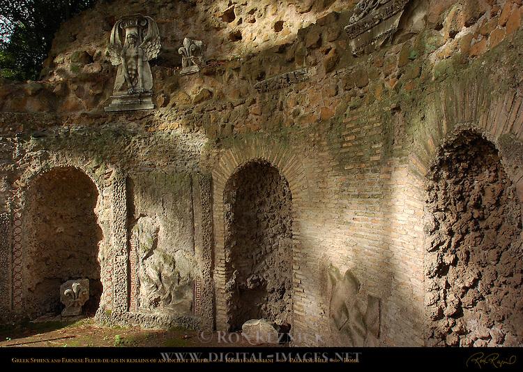Tentative ID Site of Temple of Jupiter Stator 750 BC Greek Sphinx Horti Farnesiani Palatine Hill Rome