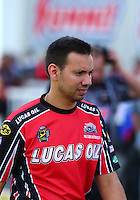 Mar 20, 2016; Gainesville, FL, USA; NHRA pro stock motorcycle rider Hector Arana Jr during the Gatornationals at Auto Plus Raceway at Gainesville. Mandatory Credit: Mark J. Rebilas-USA TODAY Sports