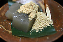 July 20, 2010 - Niiza, Japan - Warabimotchi, a jelly-like confection made from bracken starch, is seen in a restaurant near  Heirinji, Rinzai temple of the Myoshin-ji branch located in Niiza city, Japan, on July 20, 2010. Visiting the temple and taste the buddhist vegetarian cuisine is part of a 'True Japan Saitama' tour, organized by the travel agency JTB for leisure travelers.