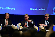 """Washington, DC - April 21, 2017:  United Nations Secretary General Antonio Guterres, World Bank President Jim Yong Kim and European Commission President Jean-Claude Juncker participate in the""""Financing for Peace"""" panel discussion during the annual Spring Meetings of the IMF/World Bank Group at the IMF headquarters in the District of Columbia April 21, 2017.  (Photo by Don Baxter/Media Images International)"""