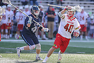 College Park, MD - March 18, 2017: Maryland Terrapins Connor Kelly (40) fights off Villanova Wildcats Kieran Byrnes (45) during game between Villanova and Maryland at  Capital One Field at Maryland Stadium in College Park, MD.  (Photo by Elliott Brown/Media Images International)