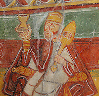 Detail of the procession of the Three Kings, carrying frankincense and cythara for the Nativity, 12th century frescoes in the choir of the Pre-Romanesque Chapel of Saint Martin de Fenollar (Sant Marti de Fenollar), 9th century, Maureillas Les Illas, Pyrenees Orientales, France. The frescoes are an outstanding piece of work, which greatly impressed modern artists, especially Pablo Picasso and Georges Braque in 1910. Picture by Manuel Cohen