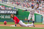 22 August 2015: Washington Nationals outfielder Jayson Werth is tagged out at third by Elian Herrera after attempting a tag-up from second base on a Bryce Harper fly ball in the first inning against the Milwaukee Brewers at Nationals Park in Washington, DC. The Nationals defeated the Brewers 6-1 in the second game of their 3-game weekend series. Mandatory Credit: Ed Wolfstein Photo *** RAW (NEF) Image File Available ***