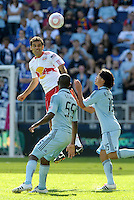 Red Bull midfielder Rafael Marquez heads the ball...Sporting Kansas City defeated New York Red Bulls 2-0 at LIVESTRONG Sporting Park, Kansas City, Kansas.
