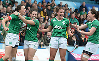 Ireland's Hannah Tyrrell celebrates scoring his sides second try<br /> <br /> Photographer Ian Cook/CameraSport<br /> <br /> Women's Six Nations Round 4 - Wales Women v Ireland Women - Saturday 11th March 2017 - Cardiff Arms Park - Cardiff<br /> <br /> World Copyright &copy; 2017 CameraSport. All rights reserved. 43 Linden Ave. Countesthorpe. Leicester. England. LE8 5PG - Tel: +44 (0) 116 277 4147 - admin@camerasport.com - www.camerasport.com