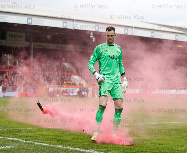 Joe Lewis with a flare from the Aberdeen end after Rangers take the lead