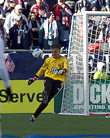 DC United goalkeeper Pat Onstad (20). In a Major League Soccer (MLS) match, the New England Revolution defeated DC United, 2-1, at Gillette Stadium on March 26, 2011.