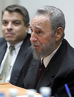 HAVANA, CUBA- NOVEMBER 22 -The president from China, Hu Jintao (left) and the cuban president Fidel Castro begins official conversations with the delegation China, November 22, 2004, Jintao, arrives in Cuba after visiting Brazil, Argentina and Chile. Credit: Jorge Rey/MediaPunch