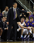 Northern Iowa head coach  Ben Jacobson sends in a play against Wyoming in the 2015 NCAA Division I Men's Basketball Championship March 20, 2015 at the Key Arena in Seattle, Washington.   Northern Iowa beat Wyoming 71 to 54.   ©2015.  Jim Bryant Photo. All Rights Reserved.