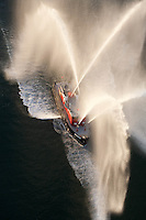 Fireboat spray, aerial, Boston, MA