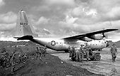 A C-130 transport turns at the end of the short runway here November 23, 1966. The transport was one of several taking troops of the First Cavalry Division back to their base camp at An Khe after an operation. Air Force aircraft made daily flights to fields like this one carrying troops and supplies to front line units..Credit: U.S. Air Force via CNP