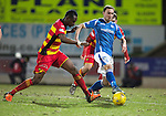 St Johnstone v Partick Thistle&hellip;02.03.16  SPFL McDiarmid Park, Perth<br />Chris Kane is closed down by Abdul Osman<br />Picture by Graeme Hart.<br />Copyright Perthshire Picture Agency<br />Tel: 01738 623350  Mobile: 07990 594431