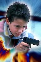 Disagio sociale.Social disease.Bambini giocano con armi giocattolo. Children play with toy weapons......
