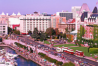 Aerial View of The Causeway, Government Street, Empress Hotel, and Downtown City of Victoria, Vancouver Island, British Columbia, Canada, in Summer