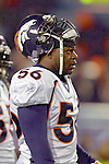 17 December 2005: Denver Broncos middle linebacker Al Wilson watches the play from the bench facing the Buffalo Bills at Ralph Wilson Stadium in Orchard Park, NY. The Broncos defeated the Bills 28-17. .Mandatory Photo Credit: Ed Wolfstein