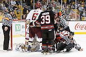John Gravallese, John Muse (BC - 1), Patrick Wey (BC - 6), Rob Dongara (Northeastern - 39), Braden Pimm (Northeastern - 14), Brian Gibbons (BC - 17), Chris Aughe - The Boston College Eagles defeated the Northeastern University Huskies 5-4 in their Hockey East Semi-Final on Friday, March 18, 2011, at TD Garden in Boston, Massachusetts.