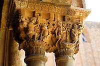 Decorated medieval historicated column capitals in the clositers of Monreale Cathedral - Palermo - Sicily
