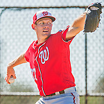 25 February 2016: Washington Nationals pitcher Stephen Strasburg throws during the first full squad Spring Training workout at Space Coast Stadium in Viera, Florida. Mandatory Credit: Ed Wolfstein Photo *** RAW (NEF) Image File Available ***