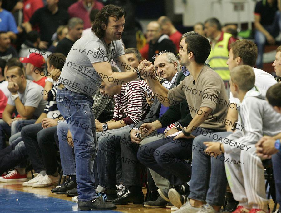 Kosarka ABA League season 2012-2013.Crvena Zvezda v Igokea.Novak Djokovic and Aca Lukas.Beograd, 19.10.2012..foto: Srdjan Stevanovic/Starsportphoto ©