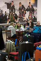 Passengers at Glasgow Internationl Airport after the.ban on flights to and from Scottish airports has been reinstated over fears of the danger to aircraft from a cloud of volcanic ash..All non-emergency air traffic was grounded on Thursday because of the eruption in Iceland..Restrictions were lifted in Scotland as the cloud moved south on Friday..But air traffic control body Nats has restricted UK airspace until at least 0100 BST on Sunday. A small number of Scottish domestic flights may take off. .17 April 2010 Picture: Universal News And Sport (Europe)...