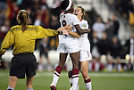 02 December 2011: Stanford's Chioma Ubogagu (9) celebrates her goal with Kristy Zurmuhlen (right). The Stanford University Cardinal played the Florida State University Seminoles at KSU Soccer Stadium in Kennesaw, Georgia in an NCAA Division I Women's Soccer College Cup semifinal game.