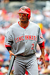 6 June 2010: Cincinnati Reds' shortstop Orlando Cabrera in action against the Washington Nationals at Nationals Park in Washington, DC. The Reds edged out the Nationals 5-4 in a ten inning game. Mandatory Credit: Ed Wolfstein Photo