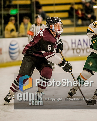 18 December 2016: Union College Dutchman Defenseman Ben Newhouse, a First Year from Edina, MN, in first period action against the University of Vermont Catamounts at Gutterson Fieldhouse in Burlington, Vermont. The Dutchmen defeated their former ECAC hockey rivals 2-1, sweeping their two-game weekend series. Mandatory Credit: Ed Wolfstein Photo *** RAW (NEF) Image File Available ***