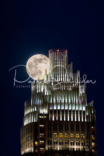 Photo of full moon over Bank of America tower in Charlotte NC
