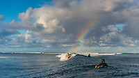 Namotu Island Resort, Nadi, Fiji (Sunday, June 12 2016): Taj Burrow (AUS and a rainbow at Cloudbreak. The Fiji Pro, stop No. 5 of 11 on the 2016 WSL Championship Tour, was called off again today due to the lack of contestable swell at Cloudbreak. The contest is still facing a number of lay days due to the small surf conditions.  There was a slight increase in the swell this morning and the winds had moved back to light Trades. Photo: joliphotos.com
