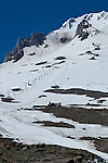 Groomed slope on Mt Hood in the summer used for snowboarding lessons