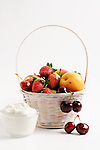 Shavuot Holiday, Israel<br /> Basket of fresh fruits and white cheese