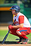 30 June 2012: Lowell Spinners' catcher Tim Roberson awaits his turn in the batting cage prior to a game against the Vermont Lake Monsters at Centennial Field in Burlington, Vermont. Mandatory Credit: Ed Wolfstein Photo