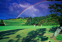 Three golfers at Kapalua Plantation golf course with rainbow