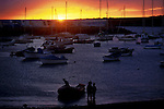 Yachts and boats at anchor at sunset. Las Galletas.Tenerife. Canary Islands, Spain