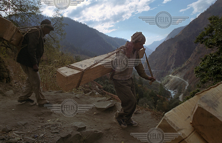 Two men from Gangani village, located sixty kilometres away from source of the River Ganges, carry large beams of wood to the riverbank where they are building a house..