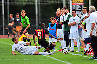 Pierre Reedy of Penn State collides with Terrapins Suli Dainkeh while going after the ball. Maryland defeated Penn State in over time 3-2 during an NCAA D-1 soccer match at Ludwig Field in College Park, MD on Sunday, September 18, 2016.  Alan P. Santos/DC Sports Box