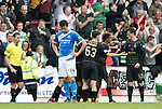 St Johnstone v Celtic&hellip;20.08.16..  McDiarmid Park  SPFL<br />A gutted Joe Shaughnessy as Celtic celebrate thie fourth goal<br />Picture by Graeme Hart.<br />Copyright Perthshire Picture Agency<br />Tel: 01738 623350  Mobile: 07990 594431