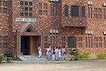 Students from Church of Pakistan-run schools in Lahore in front of a girls? dormitory..
