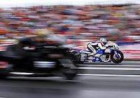 Jun 6, 2015; Englishtown, NJ, USA; NHRA pro stock motorcycle rider Hector Arana Jr during qualifying for the Summernationals at Old Bridge Township Raceway Park. Mandatory Credit: Mark J. Rebilas-