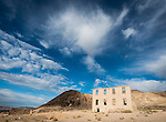 Old school house (concrete walls) Ghost town of Rhyolite, Nevada